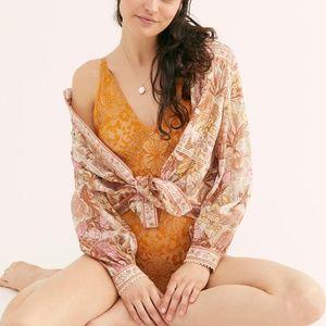 NWT Free People Live it up Lace Bodysuit Orange